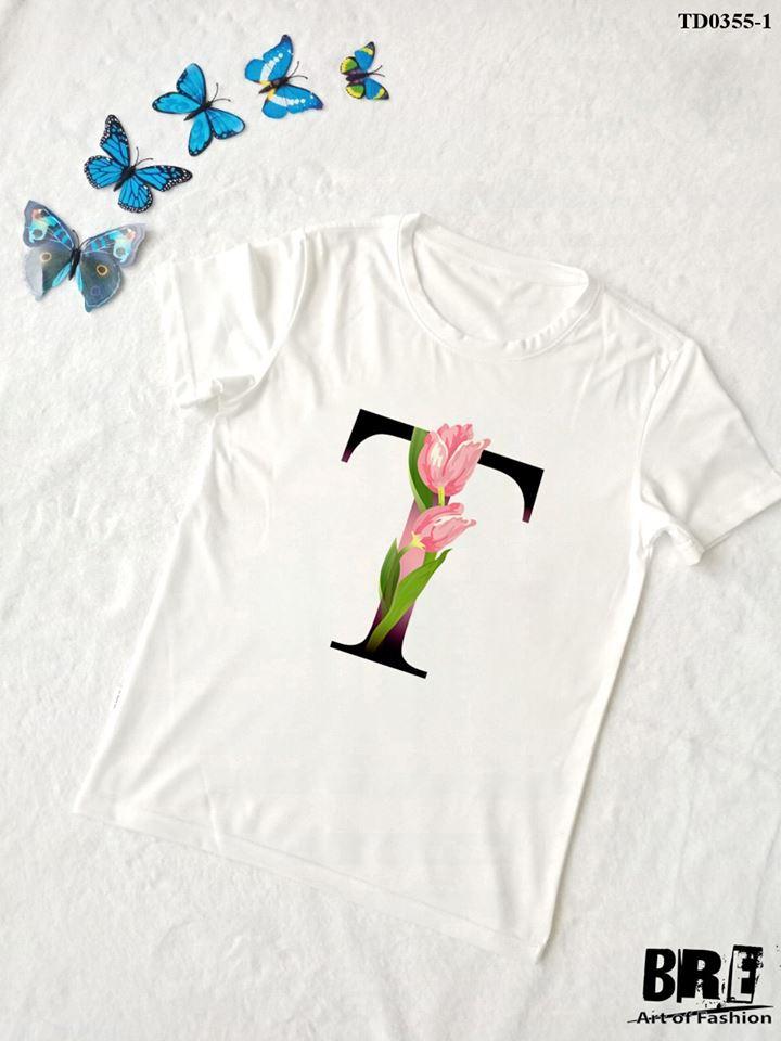 Áo thun chữ cái hoa T (TD0355-1)