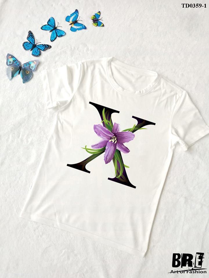Áo thun chữ cái hoa X (TD0359-1)