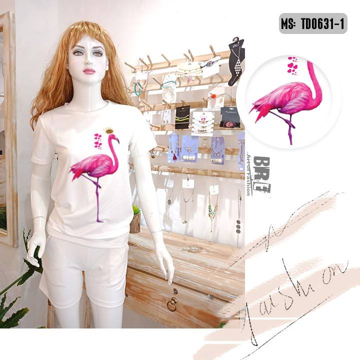 Áo thun nữ in hình chim hồng hạc 47 ( mẫu TD0631)