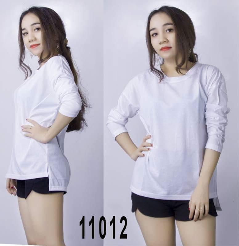 Áo thun nữ tay dài phom rộng cổ tròn trắng TNU124